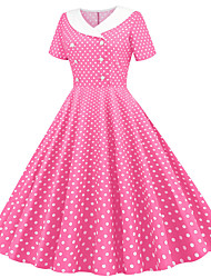 cheap -Audrey Hepburn Polka Dots 1950s Vacation Dress Dress Rockabilly Prom Dress Women's Costume Red / Blue / Pink Vintage Cosplay Homecoming Prom Vacation Short Sleeve