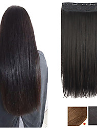 cheap -Synthetic Extentions Straight Synthetic Hair 24 inch Hair Extension Clip In / On Natural 1 Pack Silky Heat Resistant Fashion All Christmas Gifts Daily Wear Vacation