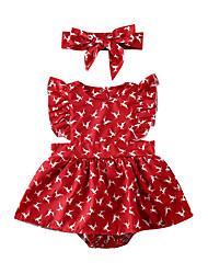 cheap -Baby Girls' Active Deer Print Print Long Sleeve Romper Red