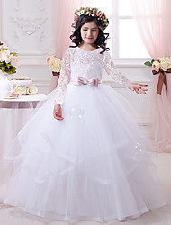 cheap -Ball Gown Sweep / Brush Train Wedding / Birthday / First Communion Flower Girl Dresses - Lace / Tulle / Cotton Long Sleeve Scalloped Neckline with Tier / Appliques / Solid