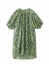 cheap -Women's Loose Knee Length Dress Monet Green Short Sleeve Print Spring Summer Casual / Daily Loose 2021 One-Size