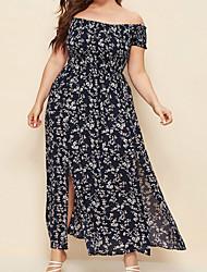 cheap -Women's Plus Size Dress Swing Dress Maxi long Dress Short Sleeve Floral One Shoulder One Shoulder Hot Spring Summer Navy White Red L XL XXL XXXL 4XL / Holiday