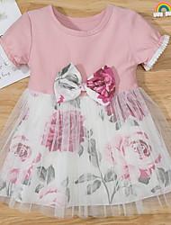 cheap -Baby Girls' Basic Floral Mesh Bow Print Short Sleeve Dress Blushing Pink