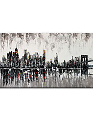 cheap -Oil Painting Handmade Hand Painted Wall Art Mintura Abstract City Landscape Home Decoration Decor Rolled Canvas No Frame Unstretched