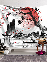 cheap -Chinese Style Ink Painting Style Wall Tapestry Art Decor Blanket Curtain Hanging Home Bedroom Living Room Decoration Polyester