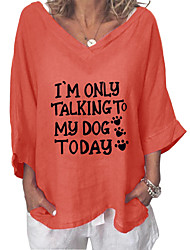 cheap -spring/summer 2021 amazon aliexpress cross-border european and american new products letter printing v-neck three-quarter sleeve cotton and linen shirt women