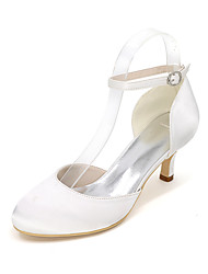 cheap -Women's Wedding Shoes Kitten Heel Round Toe Satin Solid Colored White Purple Red