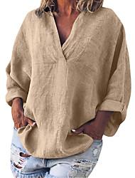cheap -Women's Plus Size Tops Blouse Shirt Plain Long Sleeve V Neck Spring Summer Blue Orange khaki Big Size L XL 2XL 3XL 4XL