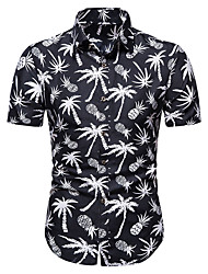 cheap -Men's Shirt Pineapple Coconut Tree Button-Down Short Sleeve Casual Tops Cotton Casual Fashion Breathable Comfortable White Black