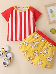 cheap -Baby Boys' Casual Print Short Sleeve Short Clothing Set Red