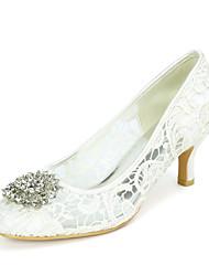 cheap -Women's Wedding Shoes Kitten Heel Round Toe Lace Rhinestone Floral White Black Pink