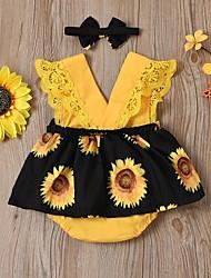cheap -Baby Girls' Active Sun Flower Floral Print Sleeveless Romper Black