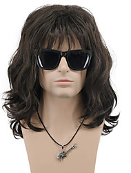 cheap -halloweencostumes Mullet Wig Synthetic Wig Wave Neat Bang Wig Medium Length Brown Blonde Synthetic Hair Men's Cosplay Party Wig(Only Wig)