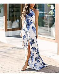 cheap -Women's Swing Dress Maxi long Dress White flower Blue flower Black flower Sleeveless Solid Color Summer Elegant & Luxurious 2021 S M L XL 2XL