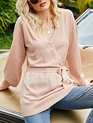 cheap -Women's Sweater Knitted Solid Color Long Sleeve Slim Sweater Cardigans V Neck Fall Spring Blushing Pink Black
