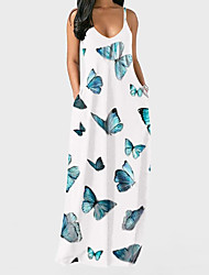 cheap -Women's Strap Dress Maxi long Dress Leopard Print Colorful Starry sky Iris Stripe printing Ink color Geometric lattice Vertical grid Wave print White + candy color wave dots Sleeveless Pattern Summer