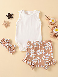 cheap -Baby Girls' Active Floral Print Sleeveless Regular Regular Clothing Set White