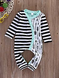 cheap -Baby Girls' Basic Striped Print Long Sleeve Overall & Jumpsuit Black