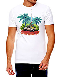 cheap -Men's Unisex Tee T shirt Hot Stamping Graphic Prints Coconut Tree Plus Size Print Short Sleeve Casual Tops Cotton Basic Fashion Designer Big and Tall White