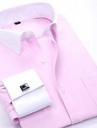 cheap -pink french cufflinks shirt men brand slim fit long sleeve mens dress shirts long sleeve formal wedding chemise homme 210522