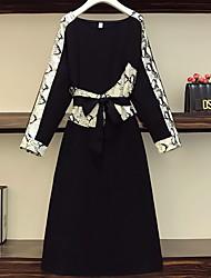 cheap -Women's Plus Size Dress A Line Dress Knee Length Dress Long Sleeve Color Block Patchwork Bow Casual Spring & Summer Black XL XXL 3XL 4XL 5XL