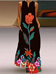 cheap -Women's Shift Dress Maxi long Dress Orange flower Red flower Golden Flower Sleeveless Pattern Summer Casual / Daily 2021 S M L XL XXL XXXL