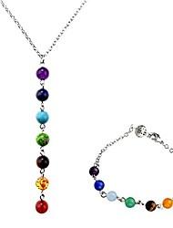 cheap -jovivi women's jewellery set 7-gemstone bead chakra/reiki healing bracelet and y-necklace therapy jewellery set