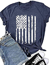 cheap -american flag shirt women 4th of july gift patriotic shirt stars and stripes flag print tees tops t-shirt blouse (blue, x-large)
