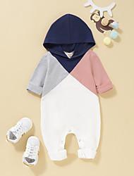 cheap -Baby Girls' Romper Basic Cotton White Color Block Long Sleeve / Summer