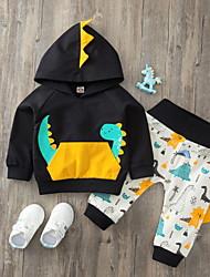 cheap -2 Pieces Baby Boys' Basic Dinosaur Animal Print Long Sleeve Regular Hoodie & Pants Clothing Set Black