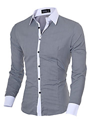 cheap -Men's Shirt Solid Colored Long Sleeve Office / Career Slim Tops Business Casual Classic Collar Blue Pink Gray / Fall / Spring / Work