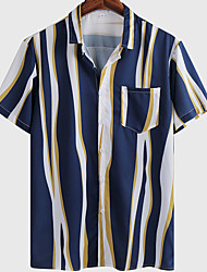 cheap -Men's Shirt Striped Graphic Prints Button-Down Short Sleeve Casual Tops Basic Fashion Breathable Comfortable Blue