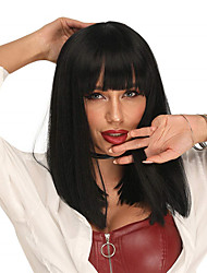 cheap -Black Wigs for Women 18 Inch Natural Straight Wigs for Women Long Smooth Natural Hair Black Synthetic Wigs with Air Bangs