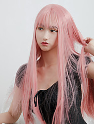 cheap -halloweencostumes Cosplay Costume Wig Natural Straight Neat Bang Wig 24 inch Pink+Red Synthetic Hair Women's Anime Cosplay Soft Pink