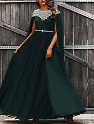 cheap -A-Line Luxurious Prom Formal Evening Dress Jewel Neck Sleeveless Floor Length Chiffon with Pleats Crystals Beading 2021