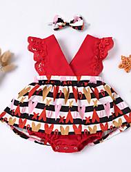 cheap -Baby Girls' Basic Floral Print Sleeveless Romper Red