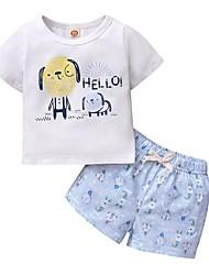 cheap -Baby Girls' Active Print Print Sleeveless Regular Regular Clothing Set White