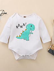 cheap -1 PC Baby Boys' Basic Dinosaur Animal Print Long Sleeve Bodysuit White