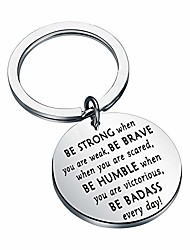 cheap -myospark be strong be brave be humble be badass everyday inspirational stainless steel disc pendant keychain motivational gift