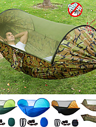 cheap -Camping Hammock with Pop Up Mosquito Net Outdoor Portable Sunscreen Anti-Mosquito Ultra Light (UL) Breathable Parachute Nylon with Carabiners and Tree Straps for 2 person Camping / Hiking Hunting