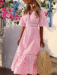 cheap -Women's Sheath Dress Maxi long Dress White Blushing Pink Half Sleeve Solid Color V Neck Hot S M L XL XXL