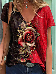 cheap -Women's Floral Theme T shirt Floral Plants V Neck Tops Basic Basic Top Purple Red Orange