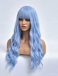 cheap -halloweencostumes amazon cross-border new products european and american wigs ladies sky blue long curly hair chemical fiber wig headgear manufacturers wholesale