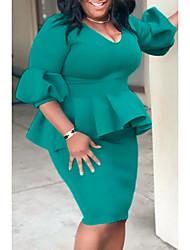 cheap -Women's Plus Size Dress Sheath Dress Knee Length Dress Lantern Sleeve Half Sleeve Plain Spring Summer Light Green L XL XXL 3XL 4XL