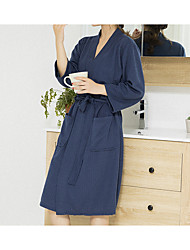 cheap -Waffle Fabric High Quality Bathrobe Pajamas Solid Color Thin V-neck Knitted Cotton Comfortable Home Wear