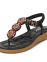 cheap -Women's Sandals PU Beading Almond Black Light Red