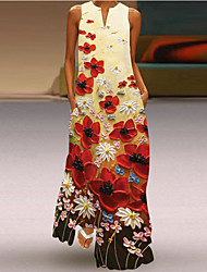 cheap -Women's Shift Dress Maxi long Dress Blushing Pink Green Red Sleeveless Pattern Spring Summer Boho 2021 S M L XL XXL XXXL
