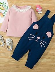 cheap -2 Pieces Baby Girls' Basic Cat Animal Print Long Sleeve Regular Hoodie & Pants Clothing Set Blushing Pink