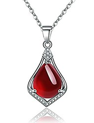 cheap -platinum plated pear-shaped simulated red agate pendant teardrop necklace with cubic zirconia birthstone jewelry gifts for women girls zy051 (red)