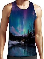 cheap -Men's Unisex Tank Top Undershirt Shirt 3D Print Scenery Graphic Prints Plus Size Print Sleeveless Casual Tops Basic Fashion Designer Breathable Round Neck Blue / Sports / Summer
